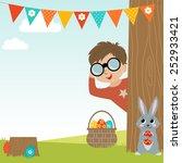 easter egg hunt background with ... | Shutterstock .eps vector #252933421