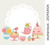 cute easter tea party... | Shutterstock .eps vector #252933424