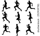 set of silhouettes. runners on... | Shutterstock .eps vector #252939781