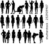 black silhouettes of beautiful... | Shutterstock .eps vector #252939907