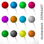 push pin  thumbtack set with... | Shutterstock .eps vector #252961657