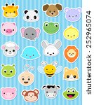 Stock vector cute animal face sticker collection specially for kids 252965074