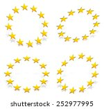 circle of 12 golden  yellow ... | Shutterstock .eps vector #252977995