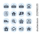 real estate icon set | Shutterstock .eps vector #252983155
