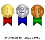 gold silver and bronze medals... | Shutterstock .eps vector #252985969