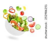 fresh salad. mixed falling...   Shutterstock . vector #252986251