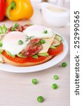 sandwich with poached eggs ... | Shutterstock . vector #252990565