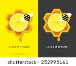 honey and lemon with bee on... | Shutterstock .eps vector #252995161