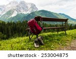 hanging backpack and hiking... | Shutterstock . vector #253004875