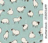 herd of sheep. seamless vector... | Shutterstock .eps vector #253051699