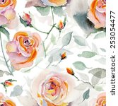 watercolor roses seamless... | Shutterstock . vector #253054477