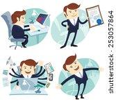 illustration office man set ... | Shutterstock . vector #253057864