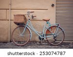 Blue Vintage City Bicycle With...