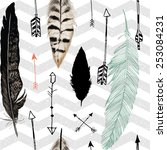 seamless pattern with feather...   Shutterstock .eps vector #253084231
