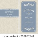 set of vintage invitation cards ... | Shutterstock .eps vector #253087744