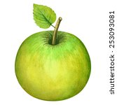 Watercolor Green Apple Whole...