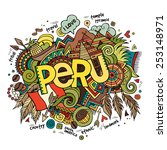 peru hand lettering and doodles ... | Shutterstock .eps vector #253148971
