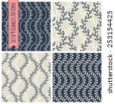 set of 4 seamless patterns with ... | Shutterstock .eps vector #253154425