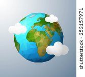 earth. low poly vector... | Shutterstock .eps vector #253157971