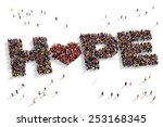 large group of people seen from ... | Shutterstock . vector #253168345