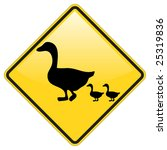 duck crossing warning sign with ... | Shutterstock .eps vector #25319836