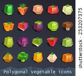 polygonal vegetable icons | Shutterstock .eps vector #253207375