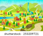 summer in the mountains  ... | Shutterstock .eps vector #253209721