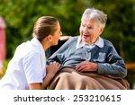 nurse holding hands with senior ... | Shutterstock . vector #253210615