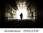 silhouette of a person reaching ... | Shutterstock . vector #253211539