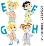 e f g and h held by cute kids... | Shutterstock .eps vector #25324303