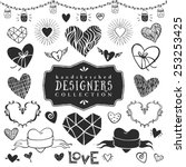 vintage decorative hearts... | Shutterstock .eps vector #253253425