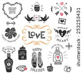 vintage decorative love badges... | Shutterstock .eps vector #253253431