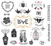 vintage decorative love badges... | Shutterstock .eps vector #253253431