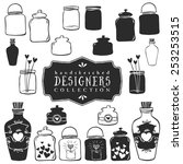 vintage decorative jars with... | Shutterstock .eps vector #253253515