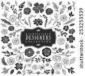 Stock vector vintage decorative plants and flowers collection hand drawn vector design elements 253253539
