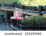 Cute Young Girl Transplanting...