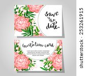 set of invitations with floral... | Shutterstock . vector #253261915