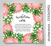 set of invitations with floral... | Shutterstock . vector #253263901