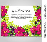 set of invitations with floral... | Shutterstock .eps vector #253263931