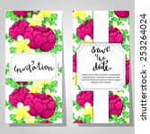 set of invitations with floral... | Shutterstock . vector #253264024