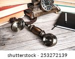 retro phone and book in vintage ... | Shutterstock . vector #253272139