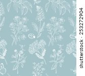 seamless pattern with herbs on...   Shutterstock .eps vector #253272904