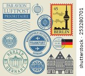 travel stamps set  vector... | Shutterstock .eps vector #253280701