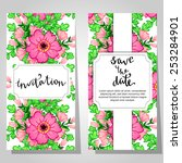 set of invitations with floral... | Shutterstock .eps vector #253284901