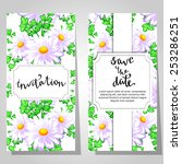 set of invitations with floral... | Shutterstock .eps vector #253286251