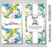 set of invitations with floral... | Shutterstock .eps vector #253286545