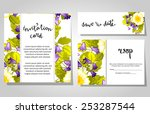 set of invitations with floral... | Shutterstock .eps vector #253287544