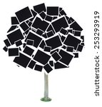 big tree made of photo cards... | Shutterstock . vector #253293919