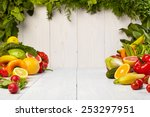 fruit and vegetable borders... | Shutterstock . vector #253297951