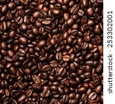 coffee beans background. close... | Shutterstock . vector #253302001